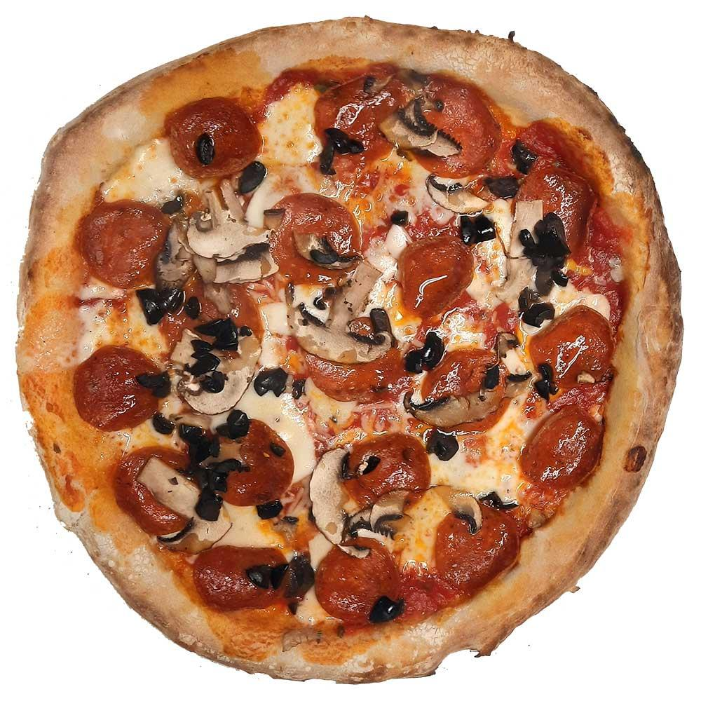 Pepperoni, Mushrooms and Black Olives - the most popular Pofokes Perfect Pie!